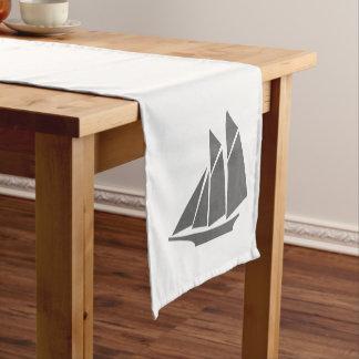 Nautical Elegant Gray Sailboat & White Short Table Runner