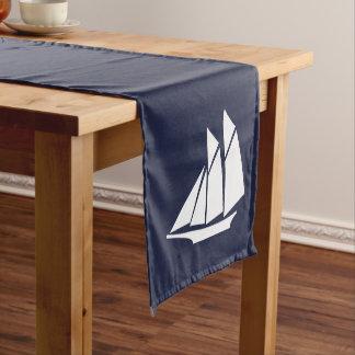 Nautical Elegant White Sailboat & Navy Blue Short Table Runner