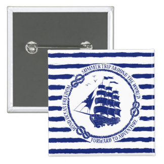 Nautical Emblem With Sailing Ship 2 Inch Square Button