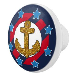 Nautical   Faux Gold Glitter Anchor   Stars Ceramic Knob