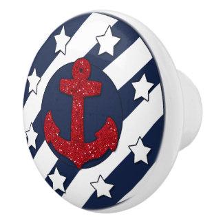 Nautical   Faux Red Glitter   White Stars Ceramic Knob