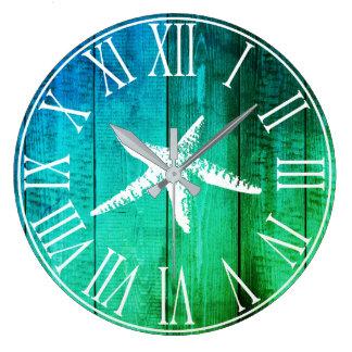 Nautical Faux Wood Ocean Hues & White Starfish Large Clock