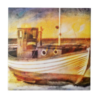 Nautical Fishing Boat on Beach at Sunset Ocean Art Tile
