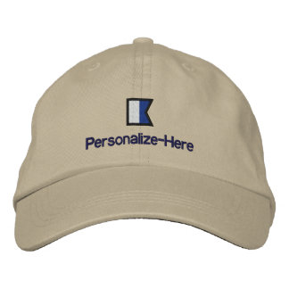 """Nautical Flag """"A"""" Personalized Boater's Hat Embroidered Hat"""