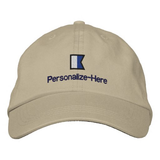 "Nautical Flag ""A"" Personalized Boater's Hat Embroidered Hat"