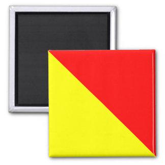 Nautical Flag Alphabet Sign Letter O (Oscar) Square Magnet