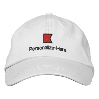 """Nautical Flag """"B"""" Personalized Boater's Hat Embroidered Baseball Cap"""