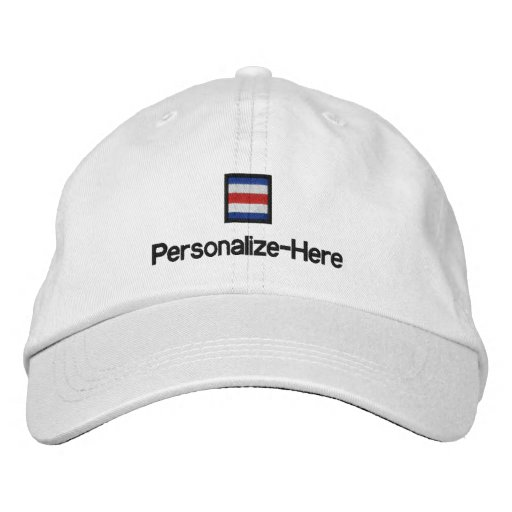 "Nautical Flag ""C"" Personalized Boater's Hat Embroidered Baseball Cap"