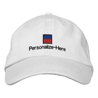 """Nautical Flag """"E"""" Personalized Boater's Hat Embroidered Hat"""