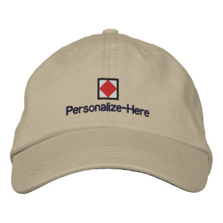 """Nautical Flag """"F"""" Personalized Boater's Hat Embroidered Baseball Caps"""