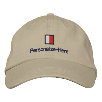 """Nautical Flag """"H"""" Personalized Boater's Hat Embroidered Baseball Cap"""