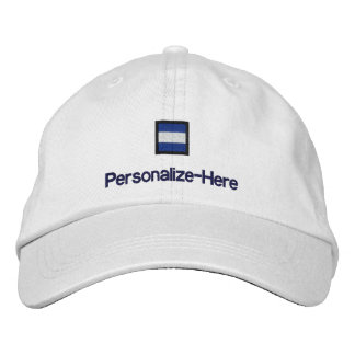 """Nautical Flag """"J"""" Personalized Boater's Hat Embroidered Hats"""
