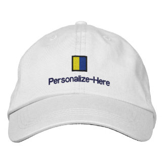 """Nautical Flag """"K"""" Personalized Boater's Hat Embroidered Baseball Caps"""