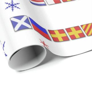 Nautical Flag Merry Christmas Gift Wrap
