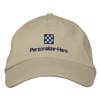 """Nautical Flag """"N"""" Personalized Boater's Hat Embroidered Baseball Caps"""
