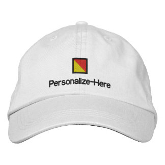 """Nautical Flag """"O"""" Personalized Boater's Hat Embroi Embroidered Hat"""