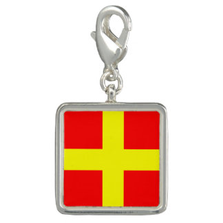 """Nautical Flag Sign Code Letter R """"Romeo"""" Charms"""