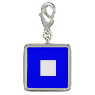 "Nautical Flag Signal Code Letter P ""Papa"" Charms"