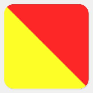 Nautical Flag Signal Letter O (Oscar) Square Sticker