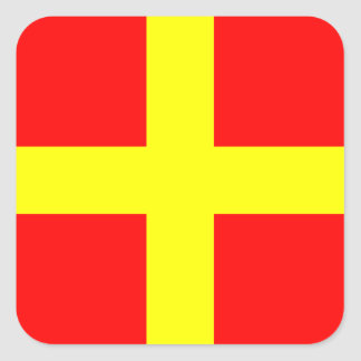 Nautical Flag Signal Letter R (Romeo) Square Sticker