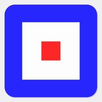 Nautical Flag Signal Letter W (Whiskey) Square Sticker