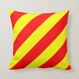 Nautical Flag Signal Letter Y Yankee Throw Pillow