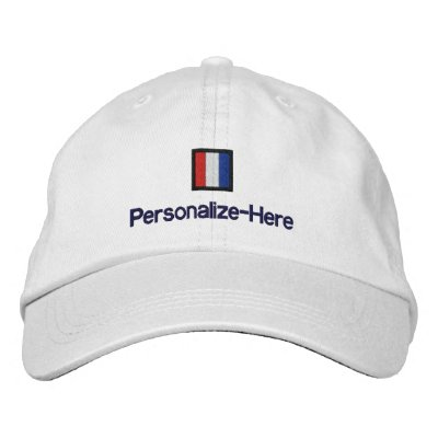 """Nautical Flag """"T"""" Personalized Boater's Hat Embroidered Baseball Caps"""