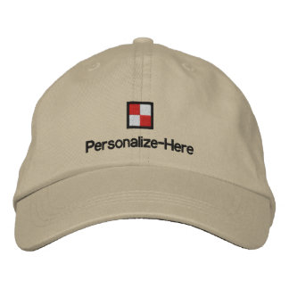 """Nautical Flag """"U"""" Personalized Boater's Hat Embroi Embroidered Baseball Cap"""