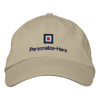 """Nautical Flag """"W"""" Personalized Boater's Hat Embroidered Hat"""