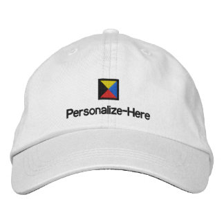 """Nautical Flag """"Z"""" Personalized Boater's Hat Embroi Embroidered Hat"""