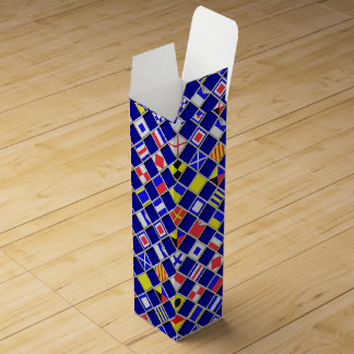 Nautical Flags 3D Checkered Pattern Wine Boxes