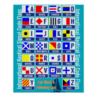 Nautical Flags Alphabet Poster