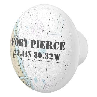 Nautical Fort Pierce, FL Latitude Longitude Chart Ceramic Knob