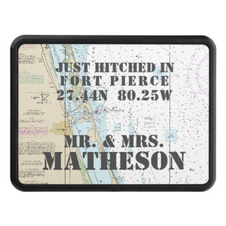 Nautical Fort Pierce Just Hitched Just Married Trailer Hitch Cover