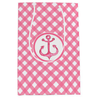 Nautical Gingham Anchor Plaid Gift Bag