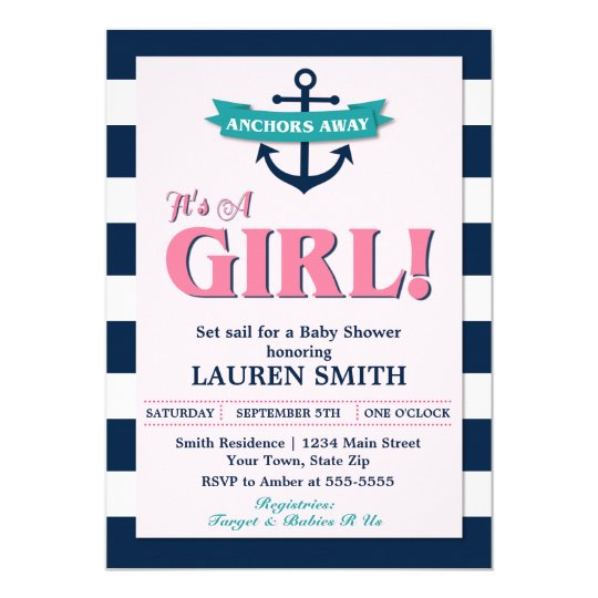 Nautical Girl Anchor Baby Shower Invitation Card