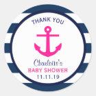 Nautical GIRL Hot Pink Navy Blue Baby Shower Classic Round Sticker