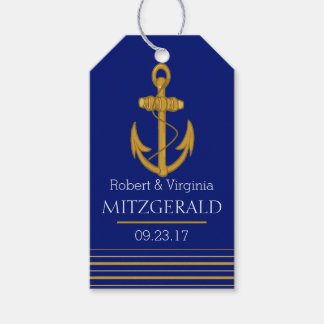 Nautical Gold Anchor Monogram Wedding Guest Favor Gift Tags