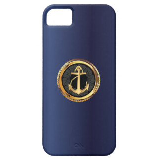 Nautical Gold Anchor Navy Blue iPhone 5 Case