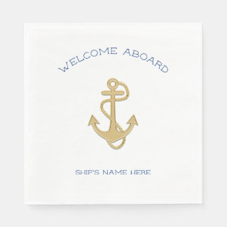 Nautical Gold Anchor Welcome Aboard Napkins
