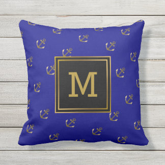 Nautical Gold Anchors Pattern Navy Blue Monogram Outdoor Pillow