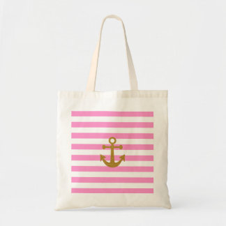 Nautical gold glitter effect anchor pink stripes budget tote bag