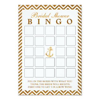Nautical Gold Glitter Zigzag Bridal Bingo Cards