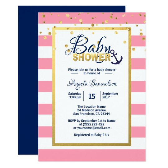 Nautical Gold Navy Blue White Pink Baby Shower Card