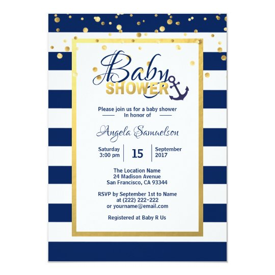 Nautical Gold Navy Blue White Stripes Baby Shower Card