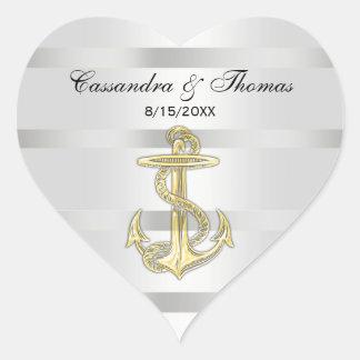 Nautical Golden Anchor White BG H Envelope Seals Heart Sticker