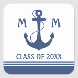 Nautical Graduation Square Sticker