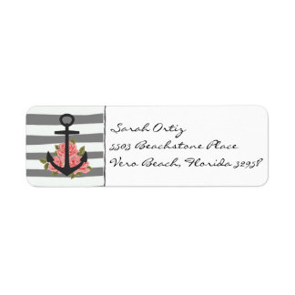 Nautical Gray Rose Anchor Labels