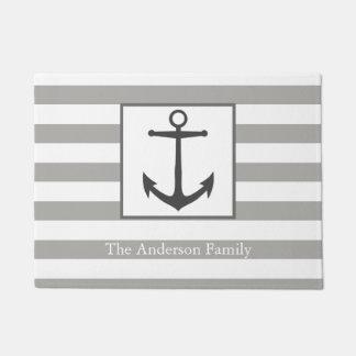 Nautical Gray Stripes & Anchor Family Name Doormat