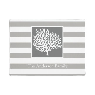 Nautical Gray Stripes & Coral Tree Family Name Doormat